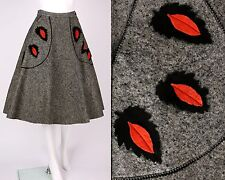 "VTG 1950s GRAY WOOL FELT LEAF POCKET ""POODLE"" CIRCLE SKIRT OOAK SZ S"