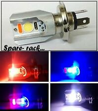 H4 cob led Head light RED BLUE STROB FLASH POLICE LIGHT 12v 6000K- FOR ALL BIKES