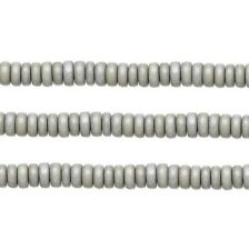 Wood Rondelle Beads Light Grey 8x4mm 16 Inch Strand