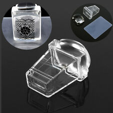 Transparent Nail Art Stamper with Cap Square Clear Silicone Stamping Plate Gifts