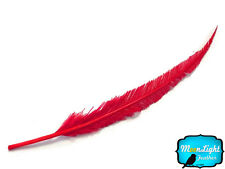 5 Pieces - RED Long Ostrich Nandu Trimmed Feathers