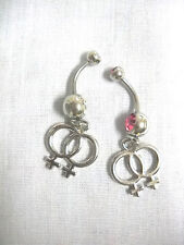 2 LESBIAN PRIDE / GIRL GIRL CHARMS ON CLEAR & PINK CZ BELLY RINGS / BELLY BARS