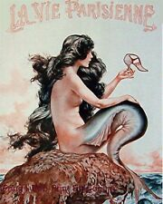 Mermaid Art Print 8 x 10 - Parisienne Paris French - Art Deco Nouveau - Pin Up