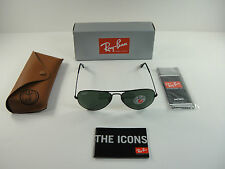 RAY-BAN AVIATOR POLARIZED SUNGLASSES RB3025 002/58 BLACK/G-15 XLT LENS, 55MM NEW