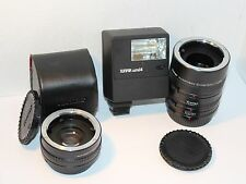 OLYMPUS OM10 OM2 OM1 ACCESSORY SET FLASH , 3 EXTENSION TUBES & 2X TELECONVERTER