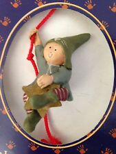 """Multicolor 3"""" GNOMY'S Diaries ELF Boy Hanging from Red Rope Figurine Ornament"""