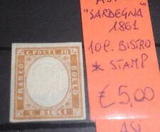 """ASI 1861 """"SARDEGNA"""" 10 C. BISTRO MH* STAMP (CAT.X)"""