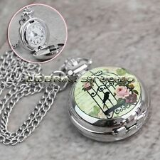 New Fashion Silver Birdcage Rose Case Pendant Necklace Chain Quartz Pocket Watch