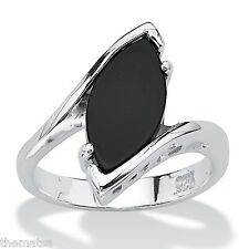 WOMENS STERLING SILVER MARQUISE SHAPED CLASSIC ONYX RING SIZE 5 6 7 8 9 10