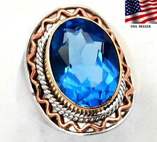6CT Sapphire 925 Solid Genuine Sterling Silver Victorian style Ring Sz 9