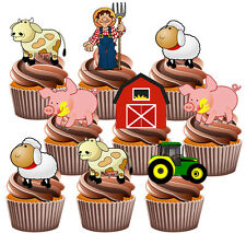 Farmyard Tractor Party Pack Birthday Cake Decorations 36 Edible Cupcake Toppers