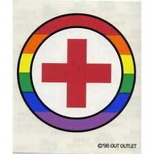 LGBT Gay & Lesbian Rainbow Pride Window / Car Sticker Red Cross Humanitarian