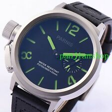50mm parnis Big Black Face Green marks brushed case 6497 hand winding men Watch