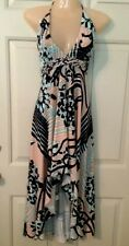 SKY Brand Pink/Blue/Ivory Braided High Low Maxi Dress-NWT-$159.00-Large
