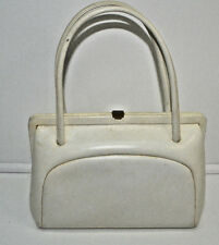 Cream Ivory Leather Handbag Classic Kelly Bag Style Dofan VTG Made in France