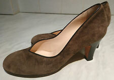 HOBBS~LONDON~BROWN~UK 4~EU~37~SUEDE~LEATHER~HEELED~COURT SHOES~MADE IN ITALY~EX!