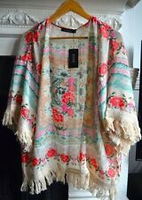 Romwe Floral Fringed KimonoTop Small-Medium Beige Red-Orange Blue Green Shirt