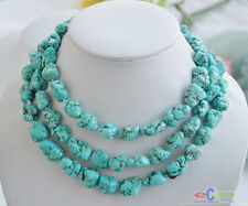 """S1537 50"""" 16mm blue baroque original chunk Turquoise stone NECKLACE"""