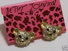 BETSEY JOHNSON Crystal Teddy Bears Earrings Studs