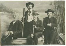"Antique Photo - Tourist - 4 Men W/Hats in Canoe, Paddle, Glasses 7 1/2"" x 11"""