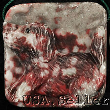Unusual! Natural Blood Stone Carved Cute Puppy Dog Pendant Bead