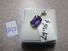 BEAUTIFUL HUGE EMERALD CUT PURPLE AMETHYST STERLING SILVER PENDENT ONLY GORGEOUS
