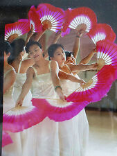 "2 CHINESE 16"" HOT PINK DANCE HAND FAN WAVY EDGE JAPANESE NEW YEAR PARTY L8"