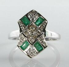 LOVELY 9CT 9K WHITE GOLD COLOMBIAN EMERALD & DIAMOND LONG RING FREE RESIZE
