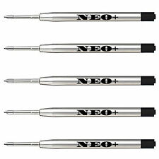 5 x Quality Ballpoint GEL ink Metal Pen Refills in black ink, Parker compatible