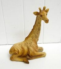 MME 928 SITTING GIRAFFE CARVED UNISON WOOD LOOK STATUE FIGURINE DECORATION