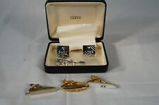Vintage Swank Men's Fleur De Lis - Cufflinks Tie Bar Box Set with Extra Tie Bars