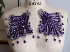 Bead Sequin EPAULETTE Mirror Image Applique (2 pc set) - SILVER & PURPLE *WOW*