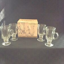 New Sonoma Celebrations Set Of 4 Clear Glass 8Oz Irish Coffee Cup Mugs