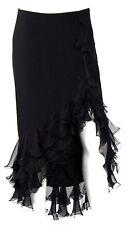 EMANUEL UNGARO Black Silk Chiffon Ruffle Hem High-Slit Midi Skirt 40