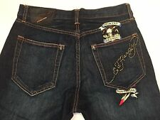 RARE Ed Hardy By Christian Audigier Mens Button Fly Distressed Jeans Sz 33 x 32