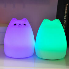 Cute Cat LED Animal Night Light Automatic 7-Color-Changing Kids Bedroom Lamp New