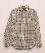 NEW Ralph Lauren RRL DOUBLE RL Men's Gray Check Cotton Western Shirt XS