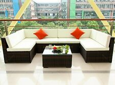 7PCS Outdoor Rattan Wicker Patio Set Garden Lawn Rattan Sofa Furniture Cushioned