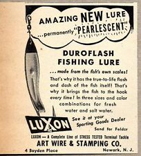1951 Print Ad Luxon Duroflash Fishing Lures Art Wire Stamping Newark,NJ