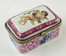 Caja con tapa, de pastillas, Porcelana, Decoración Floral, hebilla metal D8)