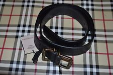 NWT Beautiful Designer BURBERRY Black Leather Gold Buckle Belt Sizes 28,30 or32