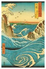 Navaro Rapids Poster! Beauty Blue Ocean Waves Crashing Hiroshige Decorative