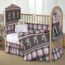 Girls Browining Plaid  Bedding Crib Set 8 Pcs Comforter Bumper Pad Sheet + More