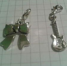 TIBETAN SILVER[2]  GUITAR+BOW CHARMS FOR PURSES/HANDBAG. PHONE