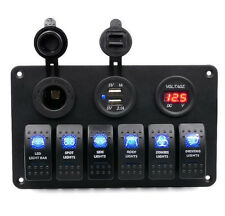 6 GANG ROCKER SWITCH PANEL  CAR MARINE BOAT CIRCUIT LED BREAKER + VOLTMETER