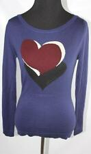 AUTH $995 Gucci Women Navy Heart 100% Cashmere Sweater M
