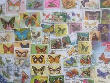 500 Different Butterflies/Moths on Stamps Collection