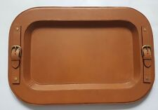 RALPH LAUREN HOME HAYDEN TAN SADDLE LEATHER & BRASS BUTLER SERVING TRAY w HANDLE