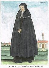 "Dugdale's - ""NUN OF THE ORDER OF ST. GILBERT"" - Hand-Colored Copper Eng. - 1717"