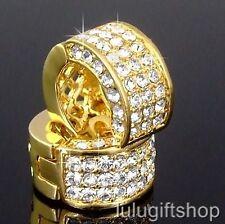18K GOLD PLATED 3D HOOP HUGGIE EARRINGS USE 5 ROW SWAROVSKI CRYSTALS BLING BLING